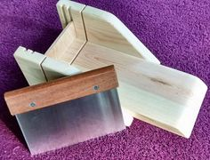 Wood soap cutting box is made of sturdy Pine.  Adjust for 1 inch or 1-1/2 inch.  Inside dimensions 11 x 4 x 2-7/8 inches (L-W-H)  Back stop 1-1/2