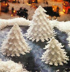 White crochet Christmas trees - Fairyland Forrest of Christmas Tree Decoration