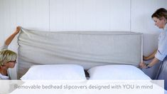 Linen Bed Styling: Using Bedhead Slipcovers To Change the Look of Your Room Headboard Cover, Modern Headboard, Headboards For Beds, Slipcovered Headboard, Slipcovers, Mirrored Bedroom Furniture, Modern Furniture, Furniture Design, How To Make Headboard