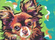 long haired Chihuahua portrait modern Dog art by BentNotBroken