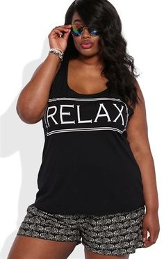 Deb Shops Plus Size Tunic Tank Top with a Relax Screen $15.00