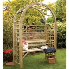 The addition of an arbour or an arch will greatly enhance the appearance of any garden and grange offers a wide range of both to suit to all your requirements. Made from pale green pressure treated timber its simple design requires no maintenance. All are flat-packed for ease of transport.