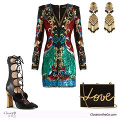 Extravagance Kardashian style outfit featuring a Balmain embellished evening…