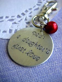 Fathers Day keychain handstamped saying birthstone by buysomelove, $7.50