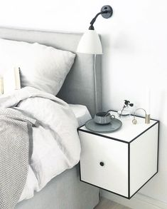 The weekend is near - spend it in bed and relax. Our Frame cabinet is perfect for a nightstand for a clean and simple look. Photo credit @daily_living.pl #bylassen #framecabinet #bedroom #interior #homeinspiration