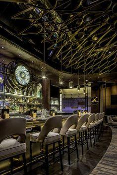 Upholstered Bar Stools. Bar Chairs. Modern Chairs. Restaurant Interior. #restaurantinteriors #barchair #barstool Read more: https://www.brabbu.com/en/inspiration-and-ideas/world-travel/sophisticated-upholstered-bar-stools-want