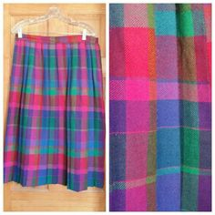 Vintage Pleated Rainbow High Waist Skirt Real vintage. Tag says 18 but fits an XL/16. Great condition Vintage Skirts