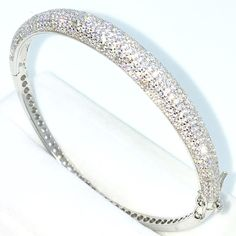 39a71875ecf New White Gold Layered on 925 Solid Sterling Silver Oval Bangle Bracelets  bulgy rows white round