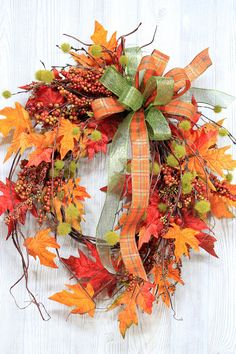 Ships Free, Fall Wreath, Fall Wreaths, Autumn Wreath, Fall Decor, Fall Wreath for Front Door, Fall Farmhouse Wreath, Fall Door Wreath  Are you looking for a light & airy unique look for your front door or home decor? This beautiful fall vine wreath is a must-have for your home decor! To give this wreath a light and airy look, I designed this wreath without using a wreath base. Included in this wreath: brown twig vines colorful fall leaves mixed berries hanging puff balls double decorative...