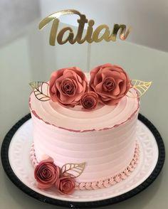 Simple Birthday Cake Designs, Cake Designs For Girl, Elegant Birthday Cakes, Beautiful Birthday Cakes, Happy Birthday Cakes, Bday Cakes For Girls, Pretty Cakes, Cute Cakes, Birthday Cake Roses