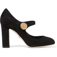 Dolce & Gabbana Embellished suede Mary Jane pumps (3.090 RON) ❤ liked on Polyvore featuring shoes, pumps, heels, and, black, dolce, high heel mary janes, black slip on shoes, black mary jane shoes and black pumps