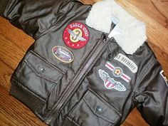 BOYS infant BABY 12 mo BOMBER JACKET vintage-style PATCHES military ZIP-FRONT #LittleRebels #Jacket #Everyday