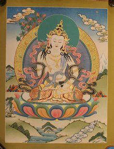 Vajrasattva Buddha Thangka Tibetan Handmade in Nepal(PLT020) by ShakyaHandicraft on Etsy
