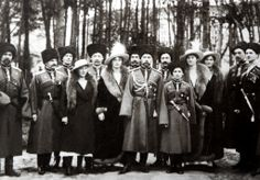 The Romanovs, royal famly of Russia : Front and center are Tsar Nicholas II and Empress Alexandra early 1900s.