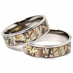 Cute His u Hers Camo Real Oak TITANIUM Wedding Bands Rings Hunting Army Camouflage Size