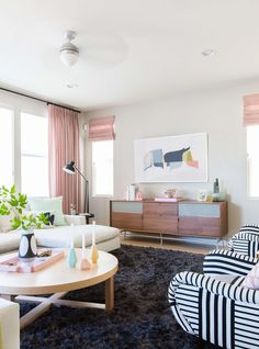Amazing Emily Henderson Design Milk Modern Pink Black And White Jaimie Derringer  Living Room Reveal 4 With