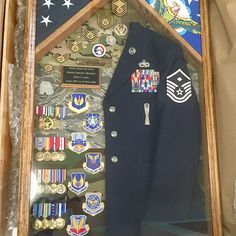Burial Flag Case Pedestal with engraved plaque and branch of service wood medallions Military Awards, Military Careers, Military Spouse, Flag Display Case, Fabric Display, Military Shadow Box, Military Box, Military Signs, Military Gear