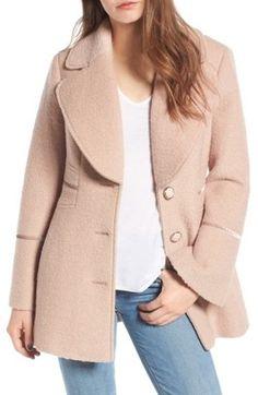 Shop Now - >  https://api.shopstyle.com/action/apiVisitRetailer?id=656247332&pid=uid6996-25233114-59 Women's Kensie Velvet Trim Bell Sleeve Coat  ...
