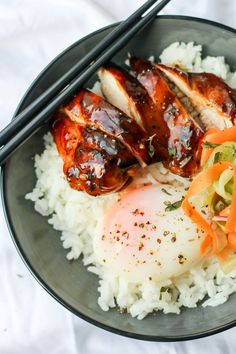 This recipe for Sous Vide Teriyaki Chicken was created by Vicki and Alan, a couple from our #anovafoodnerd family and the creators of the Cast Iron Cookie blog. These Teriyaki chicken bowls feature perfectly cooked chicken, a 63 degree egg, deliciously rich and salty teriyaki sauce served with a side of quick homemade pickles to balance everything out.