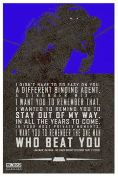 The Dark Knight Returns speech. I really hope this speech is going to be incorperated into the Batman vs Superman Movie Xx
