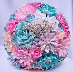 "Fabric Wedding Bouquet, Brooch bouquet ""Cocktail"" Pink, Blue and Peach"