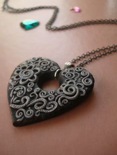 Sparkling Night Polymer Clay Necklace. $35.00, via Etsy. By Monkey June