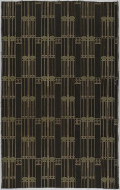 "Notschrei (""cry for help"") textile, designed by Josef Hoffmann for the Sanatorium Purkersdorf, in Vienna, Austria, 1904."