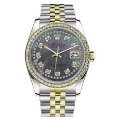 Pre-owned Rolex Datejust 2 Tone Black Mother of Pearl String Diamond... ($5,499) ❤ liked on Polyvore featuring jewelry, watches, two tone watches, rolex wrist watch, two tone jewelry, mother of pearl jewelry and pre owned watches