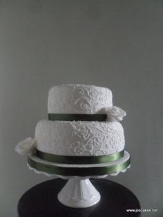W036 - Two Tier Rose Brush Embroidery Wedding Cake by Jo's Cakes, via Flickr