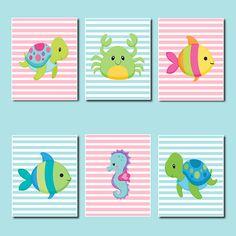 Animales del mar de la pared arte los niños decoración cuarto