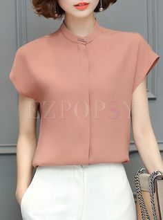 Shop for high quality Work Pure Color Stand Collar Short Sleeve T-shirt online at cheap prices and discover fashion at Ezpopsy.com