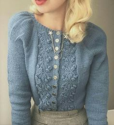 I just got this amazing hand knit style dusty blue puff sleeves cardigan f. I just got this amazing hand knit style dusty blue puff sleeves cardigan from by fellow Norwegian Ei. Vintage Outfits, Vintage Dresses, Vintage Mode, Look Vintage, Retro Vintage, Modest Fashion, Fashion Outfits, Womens Fashion, Fashion Trends