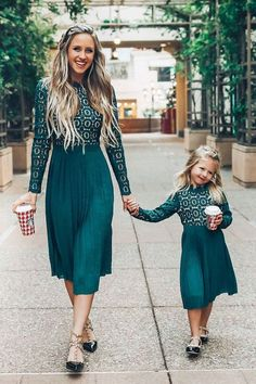 Arabella Lace Dress in Hunter Green mother daughter matching dresses. Mom Daughter Matching Outfits, Mommy Daughter Dresses, Mom And Baby Outfits, Mother Daughter Photos, Mother Daughter Fashion, Mommy And Me Dresses, Modest Lace Dress, The Dress, Nice Dresses