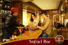 Maharajas Express royal on-board lounge bars 'Safari Bar'. The bars are warm and sociable venues for friendly chats.