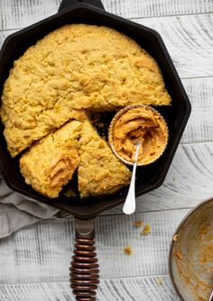 Skillet Cornbread with Chipotle Honey Butter - Skillet Cornbread