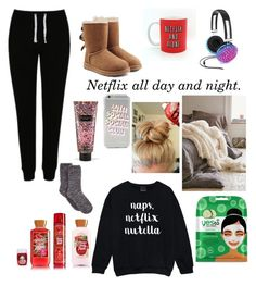 """""""Lazy day. Doing nothing."""" by kkendallloren on Polyvore featuring George, UGG, Celebrate Shop, Yes to Cucumbers and Victoria's Secret"""