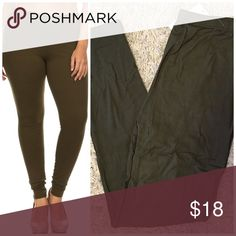 PLUS SIZE ❤️ Olive Butter Soft Brushed Leggings PLUS SIZE ❤️ Olive Butter Soft Brushed Leggings Seriously, made of the exact fabric as your Fav LuLaRoe leggings...only they aren't LLR & they don't cost as much😜 PLUS One Size, will easily fit plus sizing (up to 3X) Fit like LLR Tall & Curvy leggings....no joke These are dark olive Opaque (NOT see through), high waist, ankle length  92% polyester, 8% spandex  Price firm unless bundled  😋✌️❌NO TRADES❌ Hourglass Lady Pants Leggings