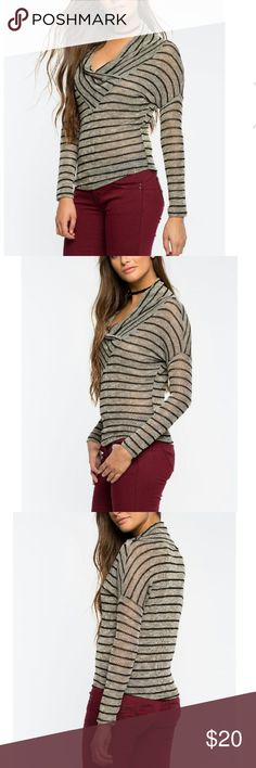 """NWT Asha Striped Top Brand New with Tags Earn your stripes with this comfy-chic top, featuring stripes  and a asymmetrical cowl neck. Dropped shoulders. Long sleeves. Finished hem.  . 95% Rayon, 5% Spandex . Hand wash cold . Model is in size S . Model is 5'8.5"""", 32"""" bust 24"""" waist, 34"""" hips philosophy of paek Tops Blouses"""