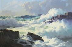 BREAKING SURF by Frederick Judd Waugh