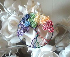 Wire Wrapped Flower Rainbow Tree of Life by DragonflyHJewellery