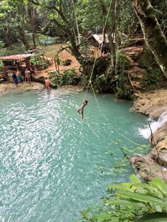 The absolute most fun place I have been to! Beautiful waterfalls everywhere. Blue Hole, Ocho Rios Jamaica.