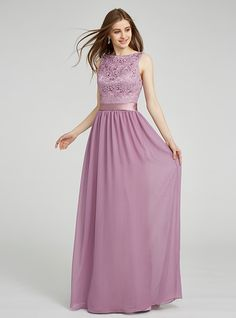 Sheath / Column Bateau Neck Floor Length Chiffon Lace Bridesmaid Dress with Lace Sash / Ribbon by LAN TING BRIDE® - GBP £62.61 ! HOT Product! A hot product at an incredible low price is now on sale! Come check it out along with other items like this. Get great discounts, earn Rewards and much more each time you shop with us!