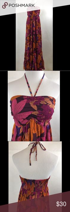 """H&M Multi Color Floral Sheer Strapless Maxi Dress H&M Multi Color Floral Sheer Lined Strapless Maxi Dress Size 10 NWT MSRP $50.  Shell: 100% Polyester  Length (Top to Bottom) - 56"""" Armpit to Armpit - 14.5"""" Waist - 19"""" **Measurements are approximate** H&M Dresses Maxi"""