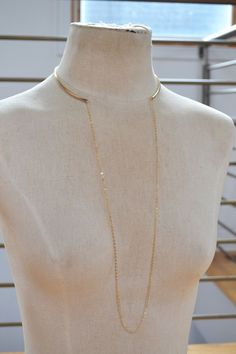 Gold Metal Choker with Long Chain, Gold Collar, Open Choker Necklace, Chain Collar Necklace, Gold Filled, Rose Gold Filled, Sterling Silver