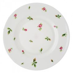 New Country Roses White Modern Salad Plate - could be used with Christmas dinner ware