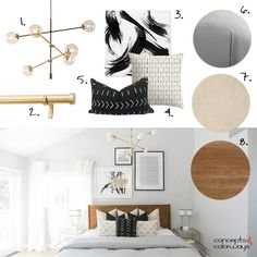 light gray bedroom interior design mood board, brass modern chandelier, brass curtain rod, black and white abstract painting, black mudcloth tribal pillow, light beige pillow, gray comforter, blush beige cork flooring, warm wood headboard, pale gray wall paint, white sheer curtains, interior styling, interior design