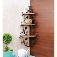 Onlineshoppee Wooden & Iron Corner Rack Home Decor Corner Shelves