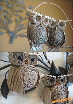 20 Genius DIY reciclado e reutilizado Art Christmas - Weihnachten Handwerk - Natal Owl Crafts, Holiday Crafts, Diy And Crafts, Crafts For Kids, Arts And Crafts, Crafts From Recycled Materials, Recycled Crafts, Handmade Christmas, Christmas Crafts