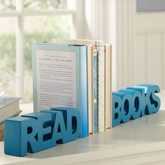 Read Books Word Bookends a beautiful way to decorate my studio.