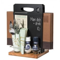 Dark Oak Condiment Cutlery & Menu Holder are available from just 21 at www. Restaurant Table Setting, Restaurant Menu Design, Rustic Restaurant, Restaurant Branding, Restaurant Tables, Restaurant Ideas, Condiment Holder, Cutlery Holder, Table Caddy